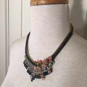 Banana Republic gunmetal gray gold floral necklace